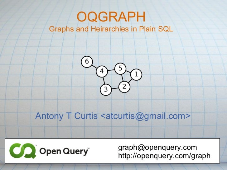 OQGRAPH   Graphs and Heirarchies in Plain SQLAntony T Curtis <atcurtis@gmail.com>                      graph@openquery.com...