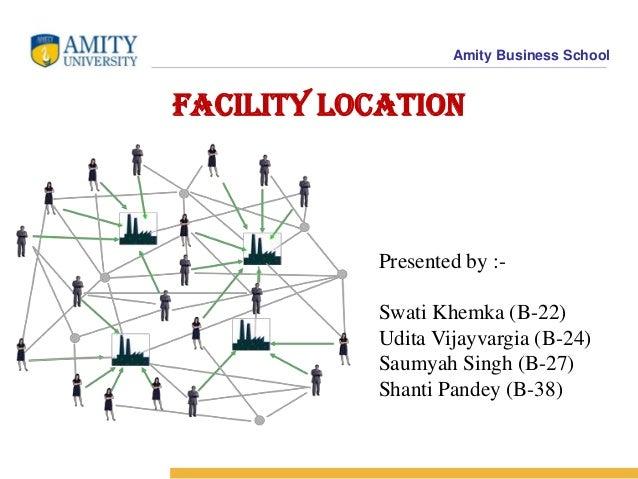 Amity Business School Facility Location Presented by :- Swati Khemka (B-22) Udita Vijayvargia (B-24) Saumyah Singh (B-27) ...
