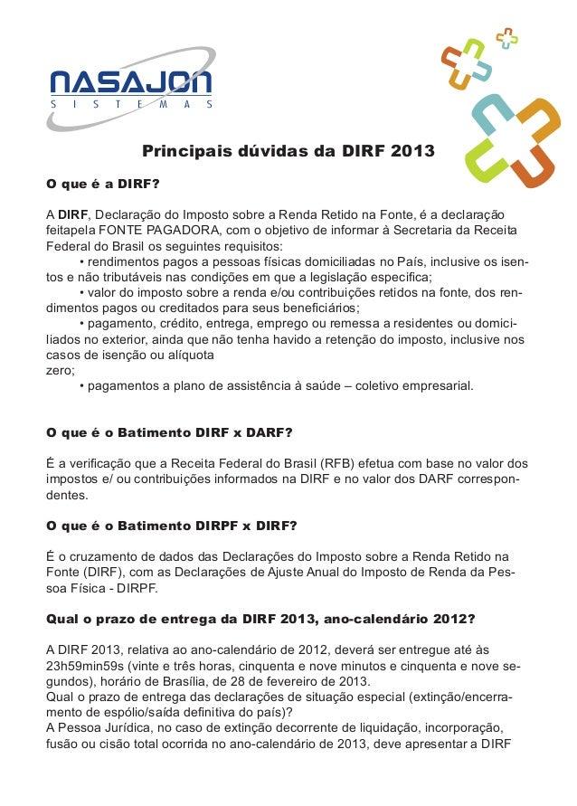 DIRF 2013 - principais dúvidas