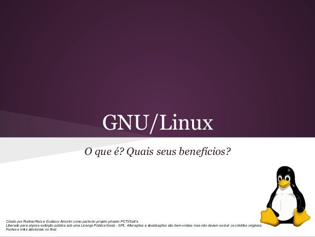 GNU/Linux O que é? Quais seus benefícios? Criado por Rodnei Reis e Gustavo Amorim como parte do projeto privado PCTI/Sak's...