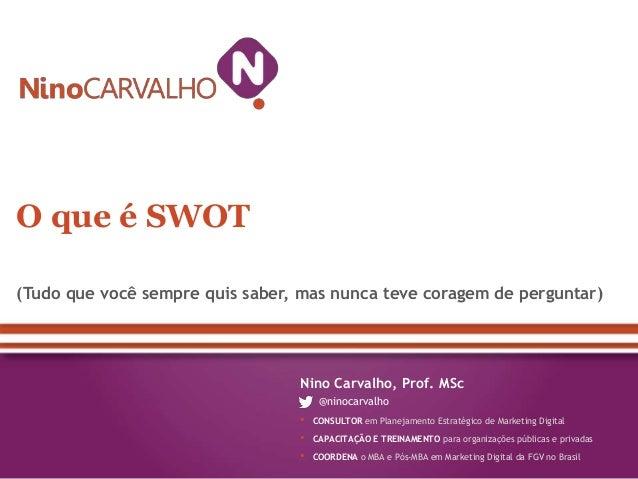 O que é SWOT(Tudo que você sempre quis saber, mas nunca teve coragem de perguntar)                                 Nino Ca...