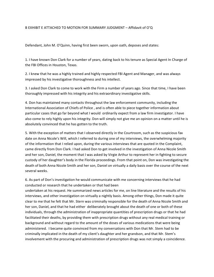 B EXHIBIT E ATTACHED TO MOTION FOR SUMMARY JUDGMENT – Affidavit of O'Q<br />Defendant, John M. O'Quinn, having first been ...