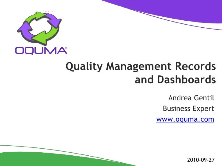 Quality Management Records and Dashboards