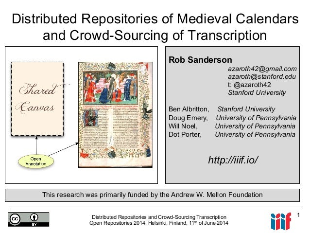 Distributed Repositories and Crowd-Sourcing Transcription Open Repositories 2014, Helsinki, Finland, 11th of June 2014 1 D...