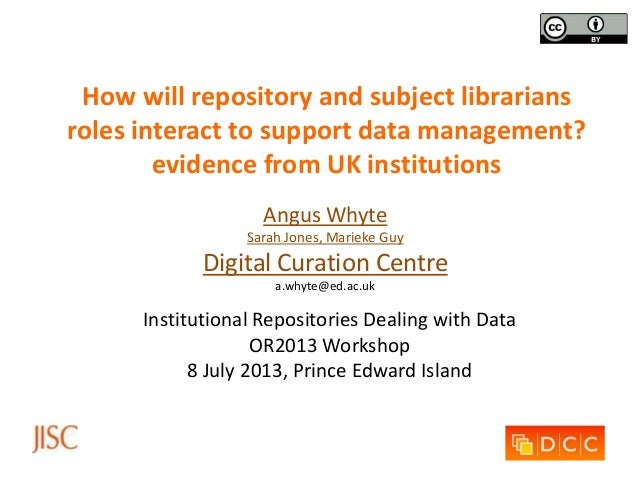 How will repository and subject librarians roles interact to support data management? evidence from UK institutions Angus ...