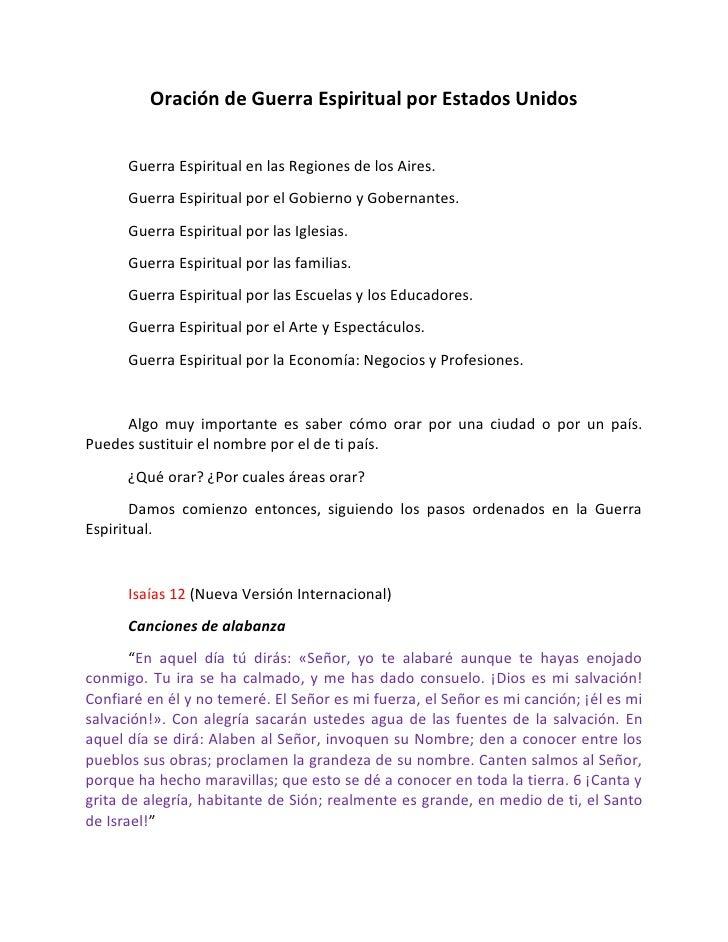 Oración de Guerra Espiritual por Estados Unidos      Guerra Espiritual en las Regiones de los Aires.      Guerra Espiritua...