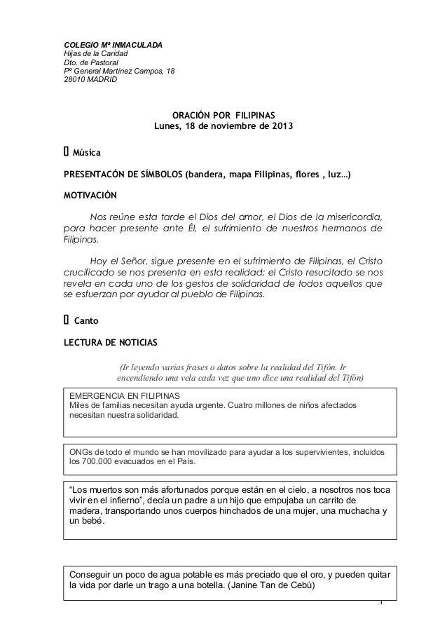 COLEGIO Mª INMACULADA Hijas de la Caridad Dto. de Pastoral Pº General Martínez Campos, 18 28010 MADRID  ORACIÓN POR FILIPI...