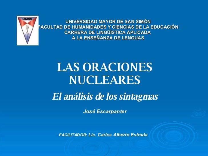 LAS ORACIONES NUCLEARES El análisis de los sintagmas UNIVERSIDAD MAYOR DE SAN SIMÓN FACULTAD DE HUMANIDADES Y CIENCIAS DE ...
