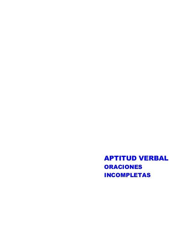 APTITUD VERBAL ORACIONES INCOMPLETAS