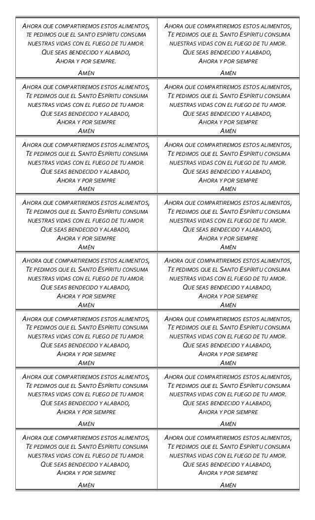 oraciones para bendecir la mesa 2013