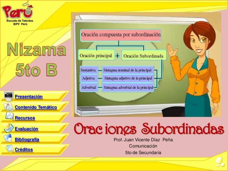 PresentaciónContenido TemáticoRecursosEvaluaciónBibliografía                     Orac iones Subordinadas                  ...