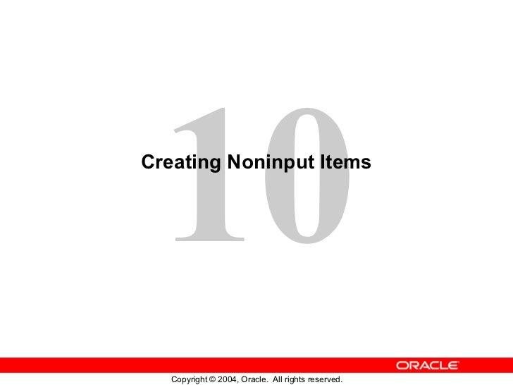 Creating Noninput Items