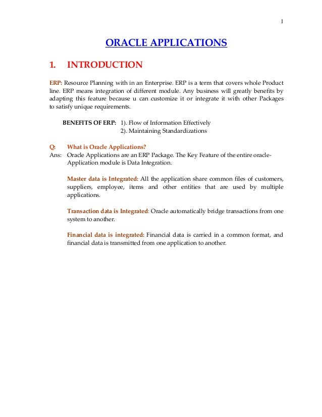 1  ORACLEAPPLICATIONS   1. INTRODUCTION  ERP:ResourcePlanningwithinanEnterprise.ERPisatermthatcoversw...