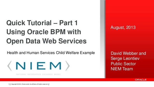 Quick Tutorial – Part 1 Using Oracle BPM with Open Data Web Services Health and Human Services Child Welfare Example  1  C...
