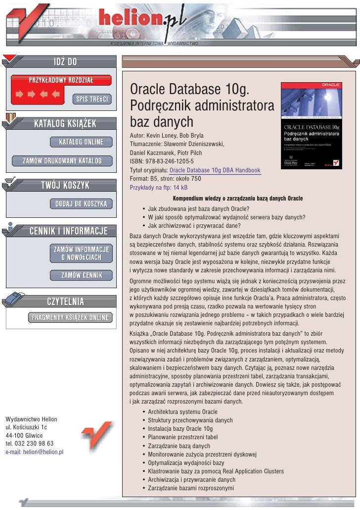 Oracle Database 10g.                            Podrêcznik administratora                            baz danych           ...