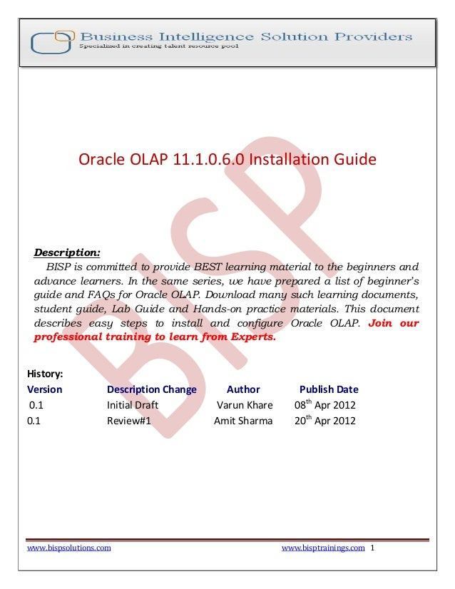Oracle olap-installation