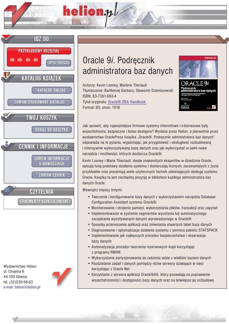 IDZ DO          PRZYK£ADOWY ROZDZIA£                             SPIS TRE CI   Oracle 9i. Podrêcznik                      ...