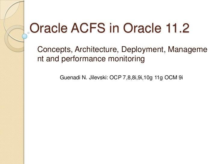 Oracle acfs in oracle 11