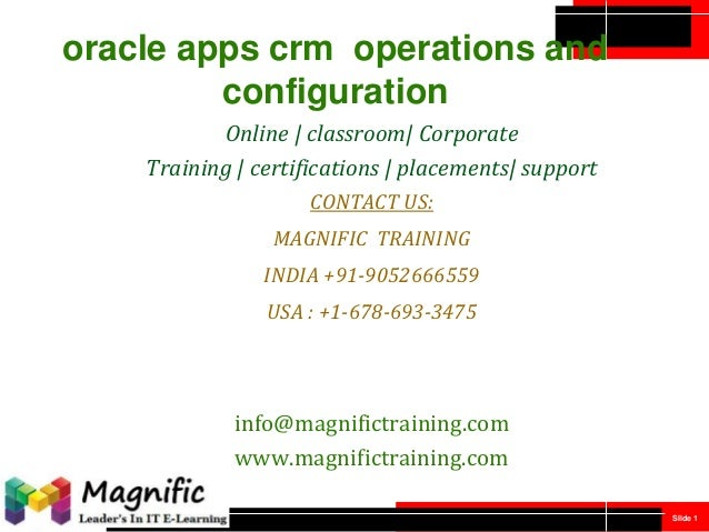 Oracle apps crm  operations and configuration
