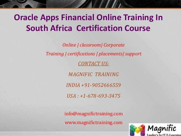 Oracle apps financial online training in south africa  certification course
