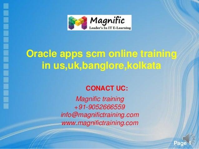 Oracle apps scm online training in us,uk,banglore,kolkata,chennai