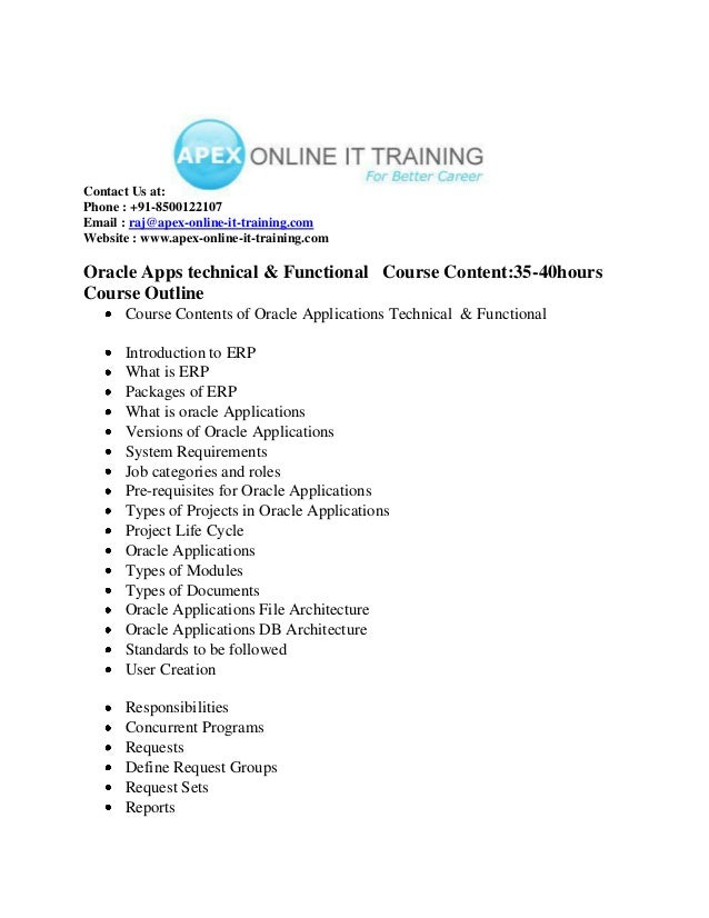 Oracle apps technical & functional  ONLINE TRAINING COURSE CONTENT