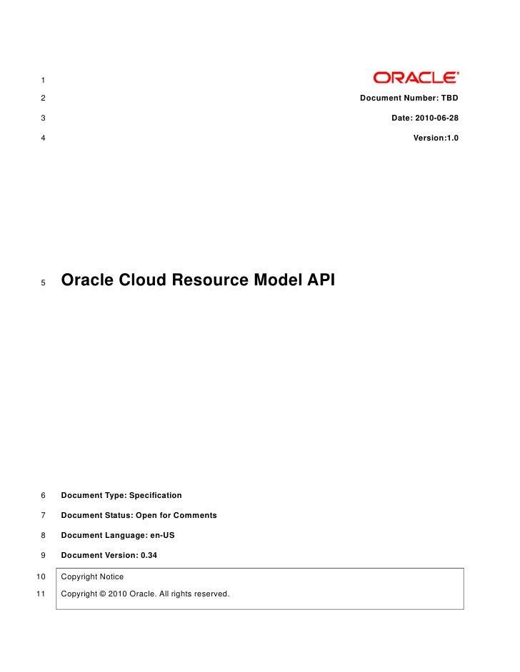 Oracle Cloud Resource Model Api