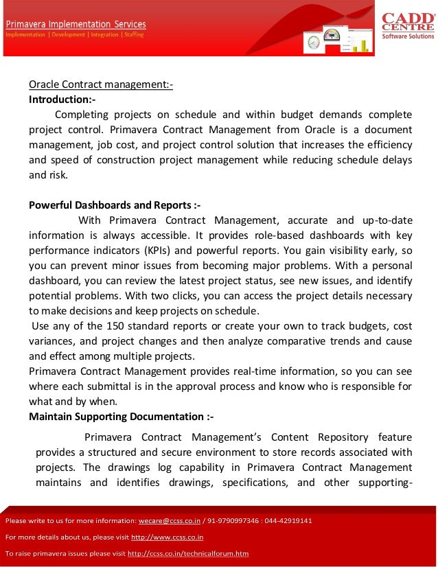 Oracle Contract management:Introduction:Completing projects on schedule and within budget demands complete project control...