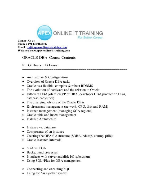Oracle dba ONLINE TRAINING COURSE CONTENT