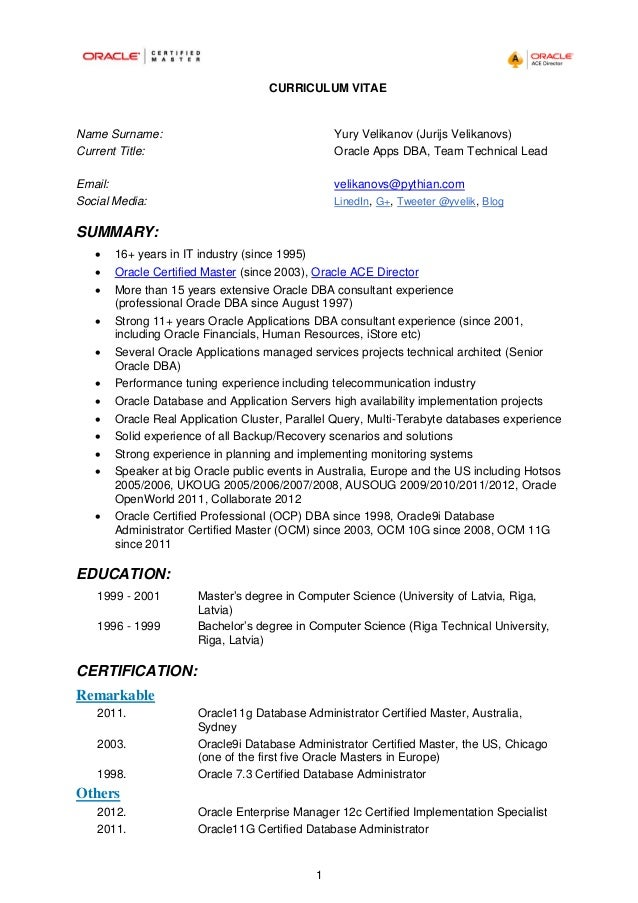 oracle dba resume doc - Oracle Dba Resume Examples