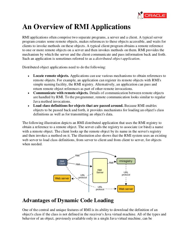 An Overview of RMI ApplicationsRMI applications often comprise two separate programs, a server and a client. A typical ser...