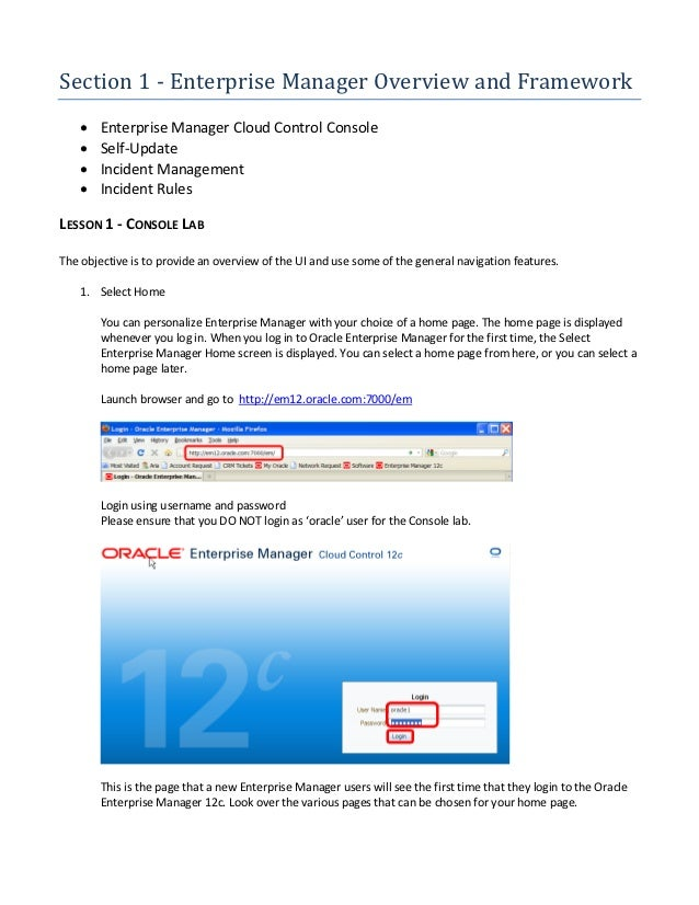 Section 1 ‐ Enterprise Manager Overview and Framework       Enterprise Manager Cloud Control Console       Self-Update  ...
