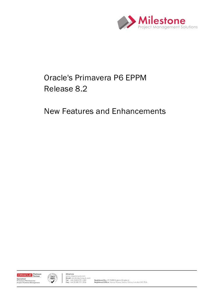 Oracle PPM.  What's new in P6release 8.2?