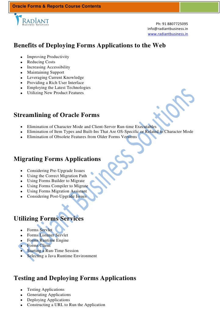 Oracle Forms & Reports Course Contents                                                                          Ph: 91 880...