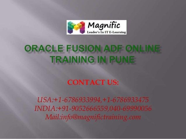 CONTACT US: USA:+1-6786933994,+1-6786933475 INDIA:+91-9052666559,040-69990056 Mail:info@magnifictraining.com