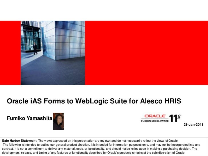 Oracle iAS Forms to WebLogic Suite for Alesco