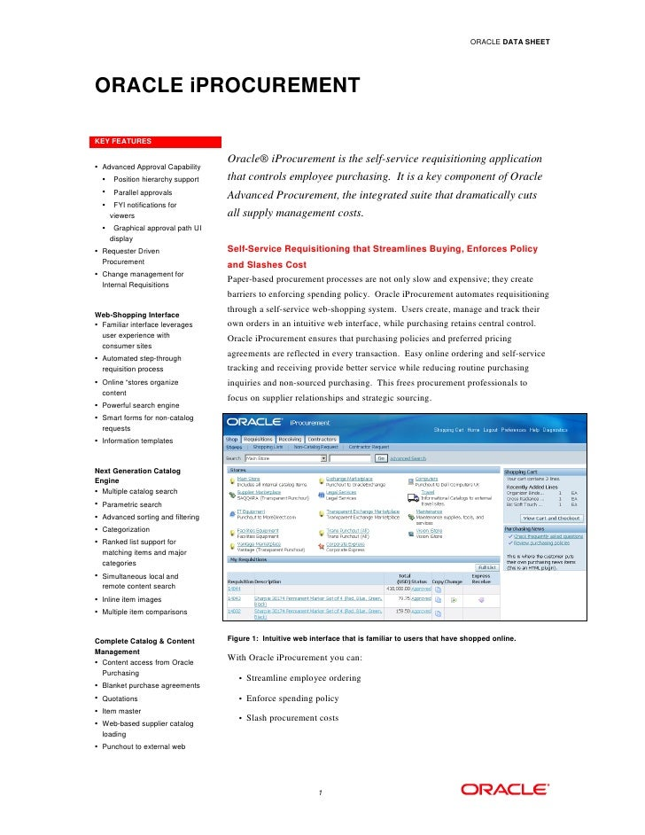 ORACLE DATA SHEET     ORACLE iPROCUREMENT  KEY FEATURES   • Advanced Approval Capability                                  ...