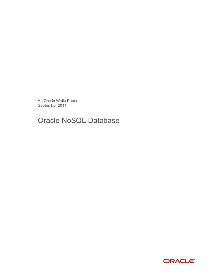 Oracle no sql database   bigdata