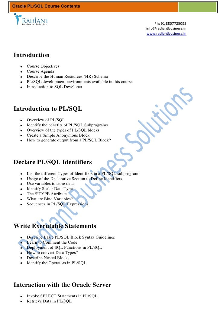 Oracle PL/SQL Course Contents                                                                           Ph: 91 8807725095 ...