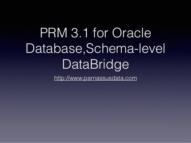 PRM 3.1 for Oracle Database,Schema-level DataBridge http://www.parnassusdata.com