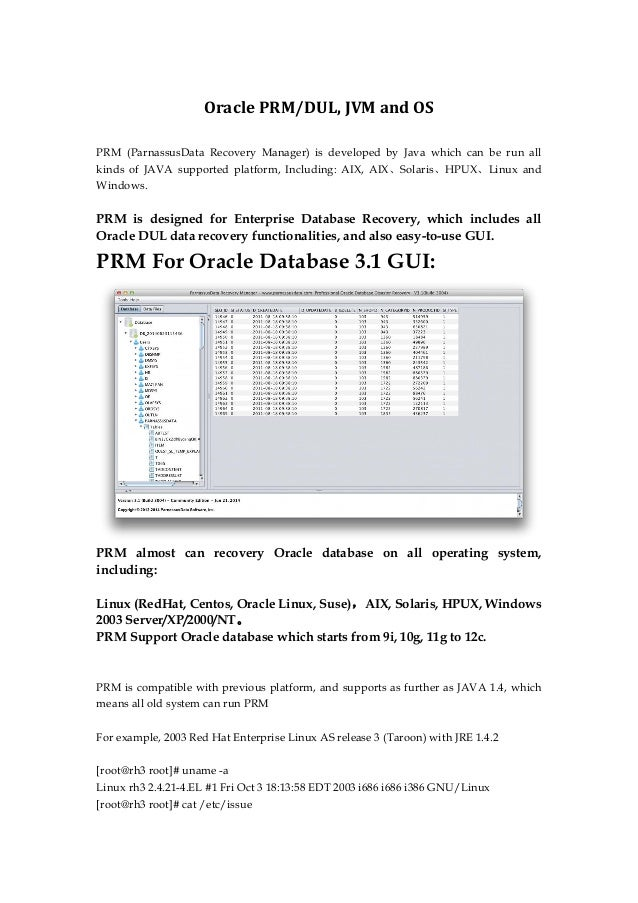 Oracle PRM/DUL, JVM and OS PRM (ParnassusData Recovery Manager) is developed by Java which can be run all kinds of JAVA su...