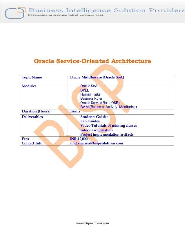 www.bispsolutions.com Oracle Service-Oriented Architecture Topic Name Oracle Middleware [Oracle SoA] Modules Oracle SoA BP...