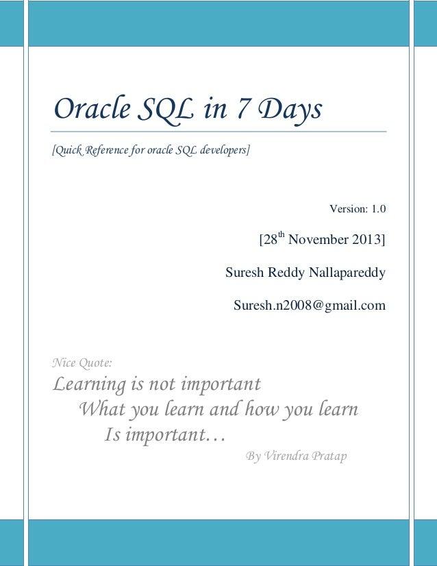 Oracle sql in 7 days by suesh.n v 1.0