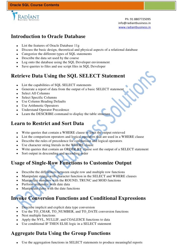 Oracle SQL Course Contents                                                                               Ph: 91 8807725095...