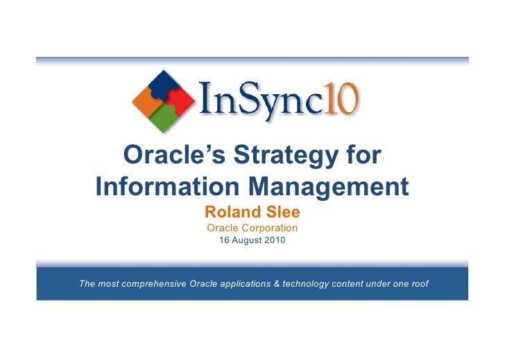 Oracle strategy for_information_management