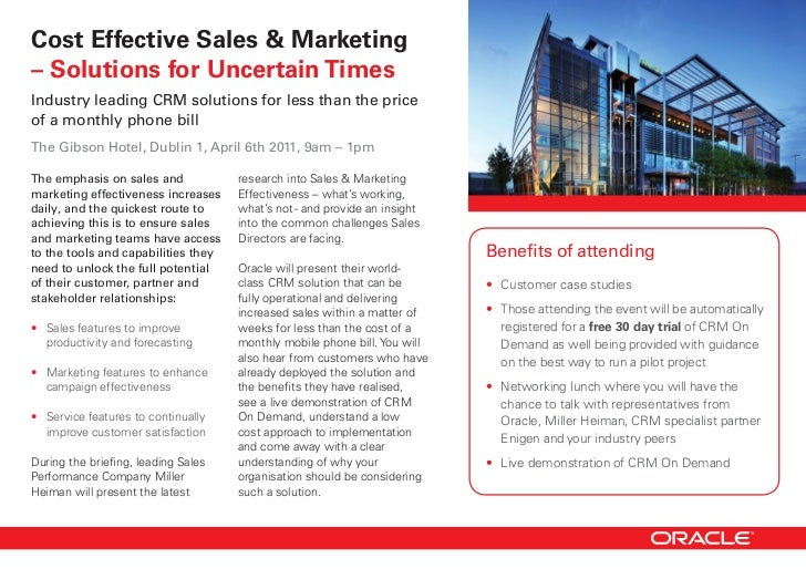 Cost Effective Sales & Marketing– Solutions for Uncertain TimesIndustry leading CRM solutions for less than the priceof a ...
