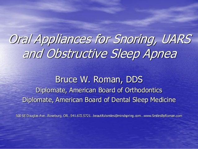 Oral Appliances for Snoring and Obstructive Sleep Apnea