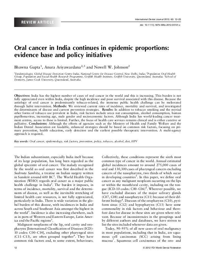 Oral cancer in india continues in epidemic proportions  evidence base and policy initiativesi dj131