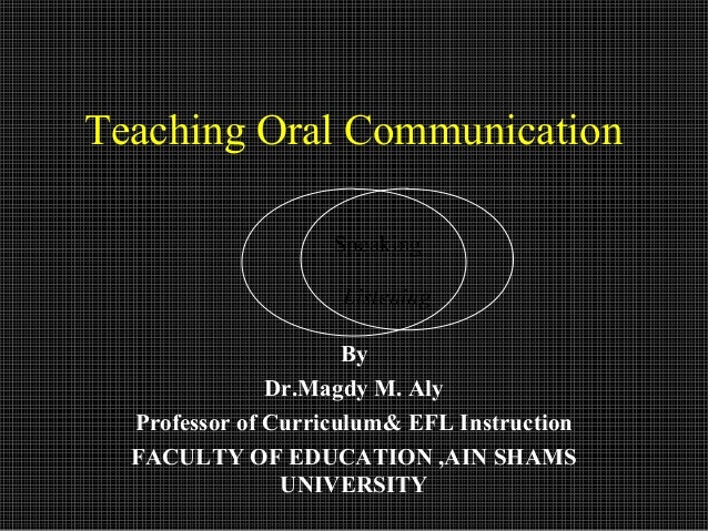 Teaching Oral Communication                    Speaking                     Listening                      By             ...