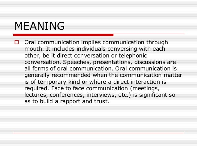 Oral communication